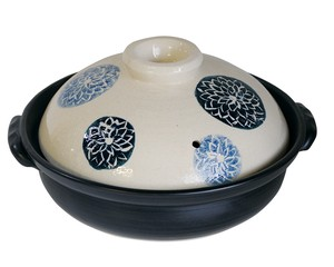 Light-Weight Earthen Pot Indigo-Dyed Dahlia Size 7 Heat-Resistant Pottery Pottery