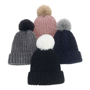 Bonbon Mall Velour Knitted Watch Cap Young Hats & Cap