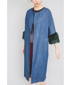 Cuff Fur Point Denim Robe