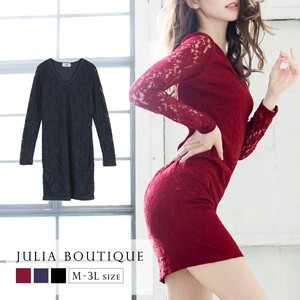 A/W One-piece Dress V-neck Floral Pattern Lace Long Sleeve One-piece Dress