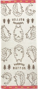 Jacquard Face Towel Hedgehog Red Ivory