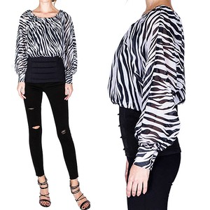 Neck ZEBRA Slim Waist Blouse Black