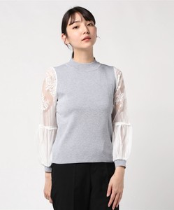 Lace Crew Neck Knitted Pullover