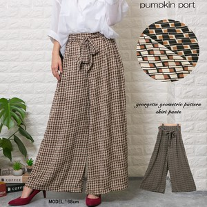 [ 2020NewItem ] Geometry Fabric Ribbon Belt Attached wide pants Scants