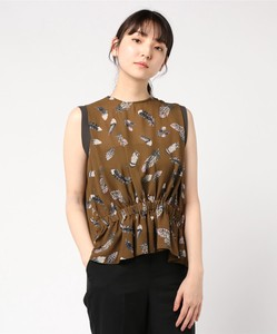 Feather Print Front Gather Blouse Bespoke Print