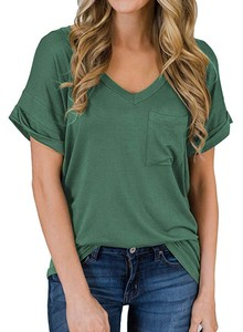 Shirt Ladies Short Sleeve Top Cut And Sewn V-neck Leisurely Over Shirt