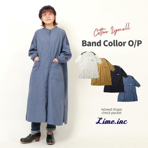 Cotton Lyocell Band Color Shirt One Piece
