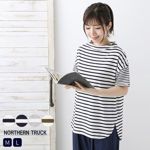 Rack Mock Neck Border Tunic Cut And Sewn Short Sleeve