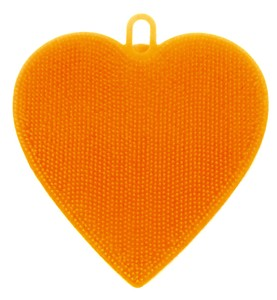 Silicone Brush Heart Orange