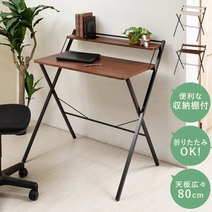 With Shelf Folded Work Desk Folded Table Wood Grain Storage Work Desk