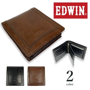 EDWIN Real Leather Attached Clamshell Wallet Short Wallet Cow Leather Genuine Leather
