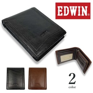 2 Colors EDWIN Real Leather Pocket Clamshell Wallet Short Wallet Card Holder