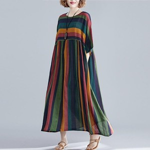 Dress Long Skirt Retro Layard Colorful Casual Ladies