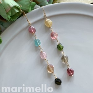 Natural stone Multi-Color Tourmaline Long Pierced Earring