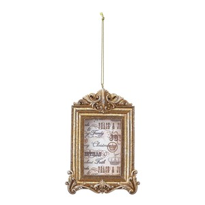 Square Frame Gold Christmas Ornament