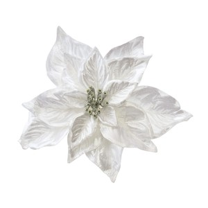 Poinsettia Clip White Artificial Flower Flower Christmas Display