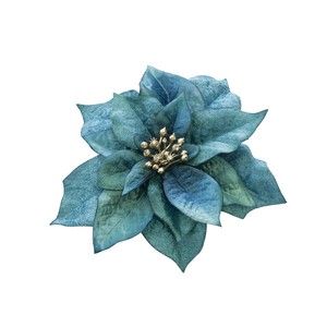 Carol Poinsettia Clip Blue Artificial Flower Flower Christmas Display