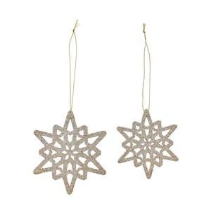 Gold Snow Flake Ornament Gold Christmas Ornament Crystal
