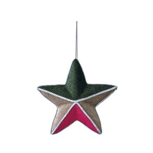 Objects and Ornaments Ornament Star Red Green Beige Christmas Ornament
