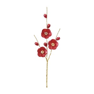 Layer Plum Blossoms Pick Pearl Red Decoration Material