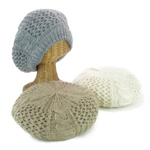 Pattern Double Knitted Beret Young Hats & Cap
