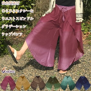 Autumn Material Rayon Wrap Pants Waist pin Gaucho Pants wide pants