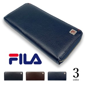 3 Colors FILA Real Leather Bi-Color Round Fastener Long Wallet Long Wallet Cow Leather