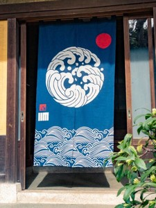 Design Wave Pattern Japanese Noren Curtain