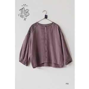 French linen + EMB  Front open blouse