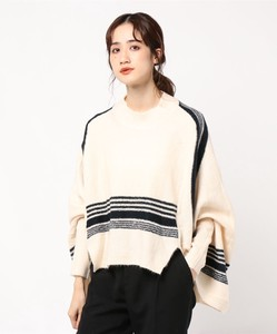 Random With Line High Neck Knitted Poncho