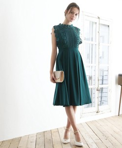 Embroidery Lace Motif Switching One-piece Dress