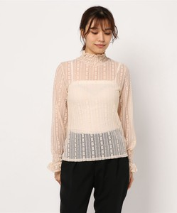 Stripe Flower Lace Frill Neck Pullover