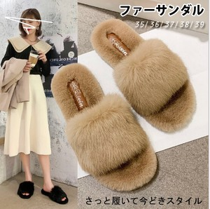 A/W Ladies Shoes Fur Attached Fluffy Mule Fur Slipper Sandal