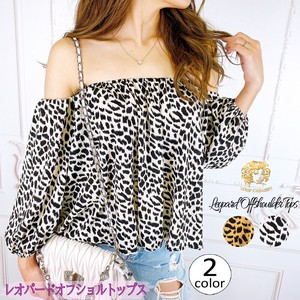"""2020 New Item"" Top Leopard Long Sleeve Sexy Camel White"