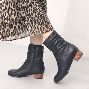 A/W 2 Colors Genuine Leather Gather Mid-calf Boots