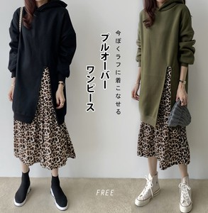 Ladies One-piece Dress Fake Band Pullover Velvet Leopard Leopard