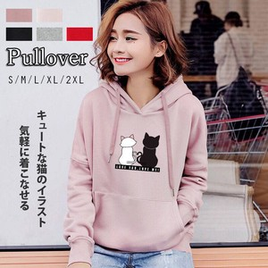 Ladies Sweat Pullover Cat Illustration Loungewear Everyday Going To School