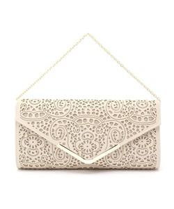 Geometric Patterns Punching Leather Clutch Bag
