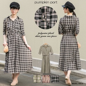 Polyester Checkered Fabric Belt Attached Shirt Color Robe Long One-piece Dress
