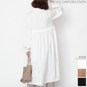 Settlement Band Color Bag Gather Switch Long Sleeve One-piece Dress