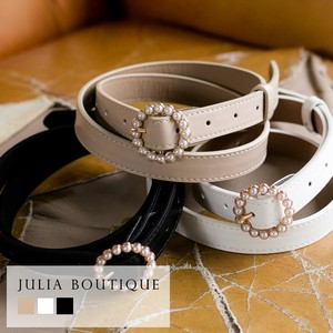[ 2020NewItem ] Belt Leather Pearl Buckle Belt
