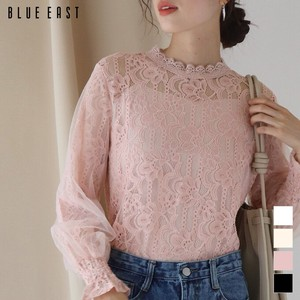 Stand Neck Floral Pattern Lace Blouse