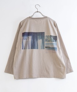 Jersey Stretch Bag Print Photo Wide Long T-shirts