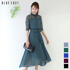 Stand Color Lace Pleats Switching Dress