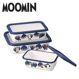 The Moomins Shallow Type Food Container 3-unit Set Container Enamel
