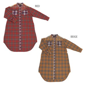 Reserved items A/W Gigging Checkered Ortega Embroidery Shirt One-piece Dress