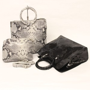 Pouch Attached Python Cow Leather Bag Bag