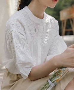 [ 2020NewItem ] Cotton/hemp Embroidery Band Color Blouse