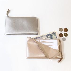 薄型コンパクト長財布[お札ピッタリサイズ]メタリックカラー ヴィーガンレザー(人工皮革)製。