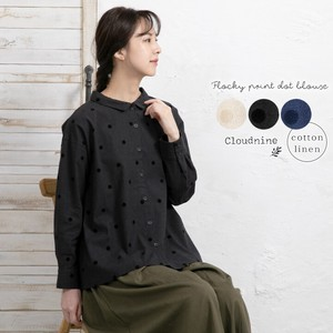 Cloud Flocky Dot Print Shirt Blouse Gather